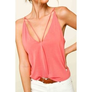 V Neck Top with Strappy Details